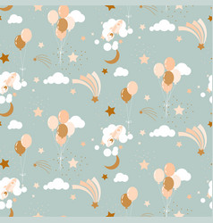 Cute baby pattern with balloons clouds vector