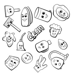 Cute cartoon items for cleaning vector
