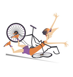Cyclist falling down from the bicycle vector