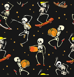 dancing and skateboarding skeletons vector image