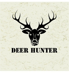 Deer head on grunge background vector