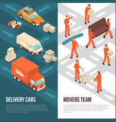 delivery moving vertical banner set vector image