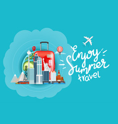 enjoy summer travel concept with calligraphic vector image