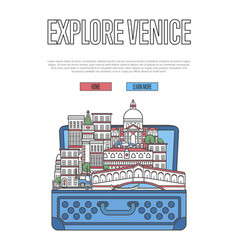 Explore venice poster with open suitcase vector