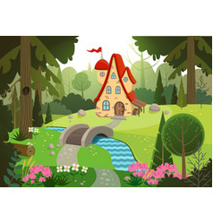 fairytale forest with a house and a bridge over vector image