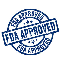 Fda approved blue round grunge stamp vector