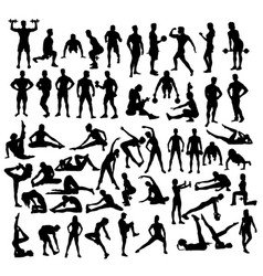 Fitness and exercises sport activity silhouettes vector