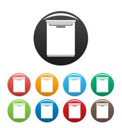 Freezer icons set color vector