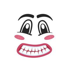fright emoji emoticon or smiley face vector image vector image