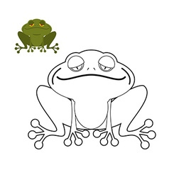 Frog coloring book Funny amphibious reptile Animal vector