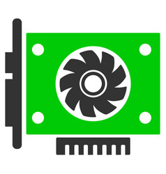 Gpu card flat icon vector