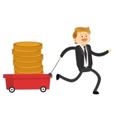 Happy businessman pulling wagon with coins icon vector