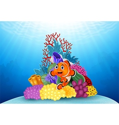Happy clown fish and beautiful underwater world vector image