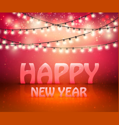 happy new year greeting background with shine and vector image