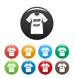 hip hop tshirt icons set color vector image