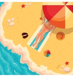Holiday girl on a sunny sea shore view from above vector image