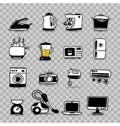 Household appliances isolated icon set vector