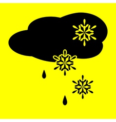 Icon cloud snow and rain vector