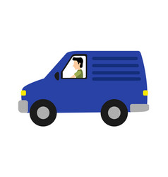 isolated delivery van vector image
