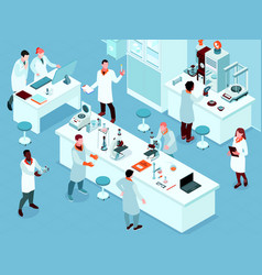 isometric science laboratory composition vector image