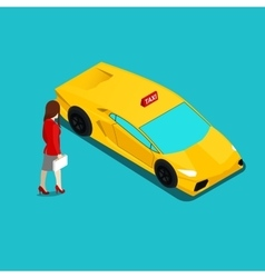 Isometric Taxi Service Businesswoman vector image