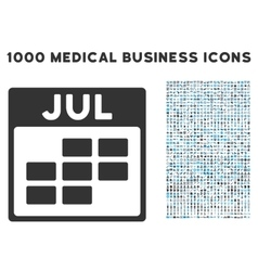 July Calendar Grid Icon With 1000 Medical Business vector