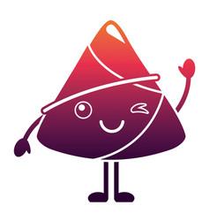 Kawaii happy rice dumpling winking cartoon vector