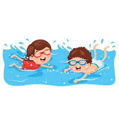 Kid swimming vector