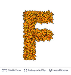 Letter f sign of autumn leaves vector