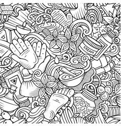 Massage hand drawn doodles seamless pattern spa vector