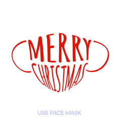 Medical face mask with text merry christmas vector