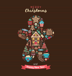 merry christmas greeting card in ginger man shape vector image