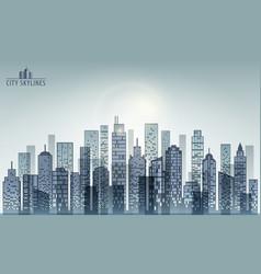 Modern evening city skyline vector