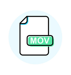 mov file format extension color line icon vector image