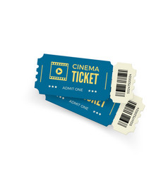 movie ticket blue cinema tickets isolated on vector image
