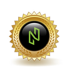 Nuls cryptocurrency coin gold badge vector