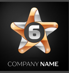 Number six logo symbol in the colorful star on vector