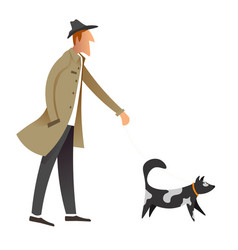 old fashioned gentleman walking dog owner and pet vector image