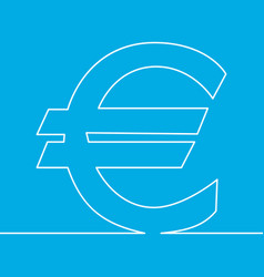 one line drawing object euro sign concept vector image