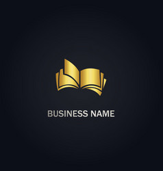open book education company logo vector image