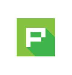 p letter logo with green square shape pixel art vector image