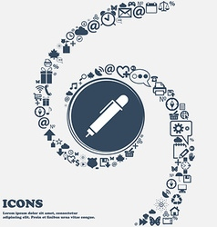 Pen icon in the center Around the many beautiful vector