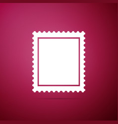 postal stamp icon isolated on purple background vector image