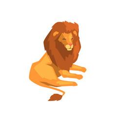 Powerful lion wild predatory animal lying vector