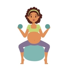 Pregnant woman character sport vector image