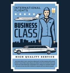 private jet business class flights quality service vector image