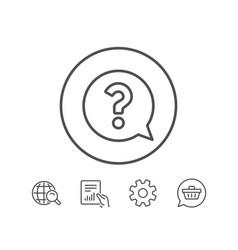 question mark line icon help speech bubble vector image