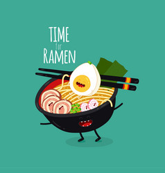 ramen funny bowl time for ramen vector image