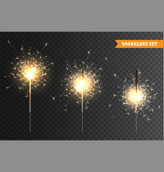 Realistic christmas sparkler collection on vector