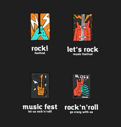 rock festival logo set vector image